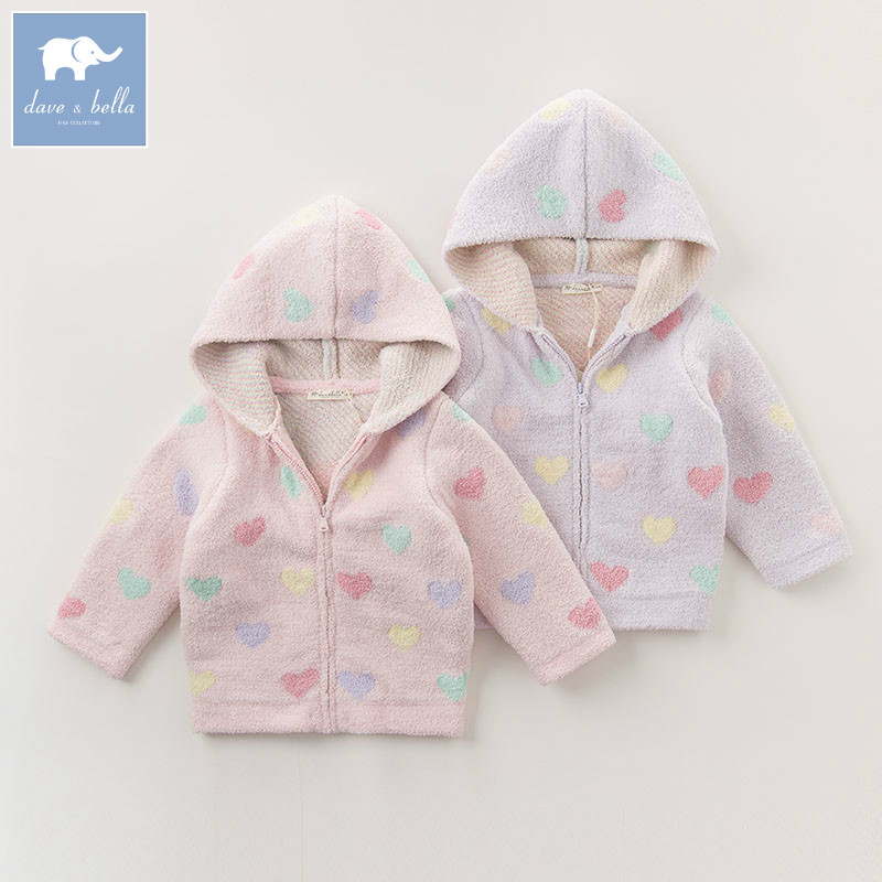 DB1200 B dave bella autumn infant baby girl fashion heart printed coats toddler Hooded coat children