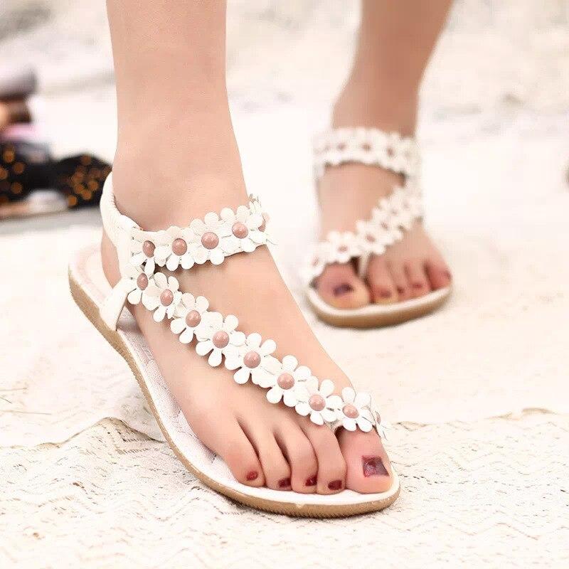 Qsr mulher sandálias bohemia verão sandália sapatos pitada clipe toe flores plana han edição com praia sapatos femininos