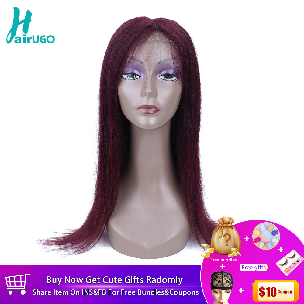Devoted Hairugo Peruvian Straight Hair Lace Front Wig 99j Bug Ombre Human Hair Wigs For Black Women Pre Plucked Natural Hairline Remy Careful Calculation And Strict Budgeting Lace Closures & Frontals Hair Extensions & Wigs