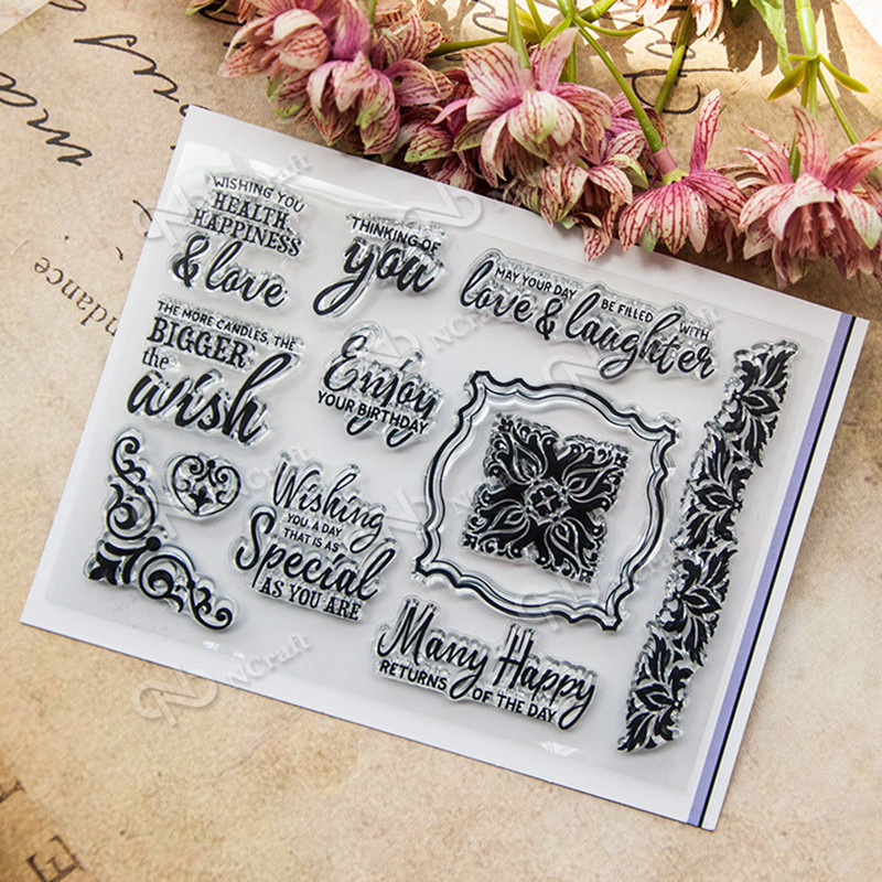 DIY scrapbook paper card ''wish'' rubber transparent clear stamp  for wedding gift T-0227 clear acrylic a3a4a5a6 sign display paper card label advertising holders horizontal t stands by magnet sucked on desktop 2pcs