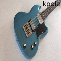 Custom Store China Instrument Kpole 8 String SG Silver Powder Blue Electric Guitar Chinese Factory Inventory