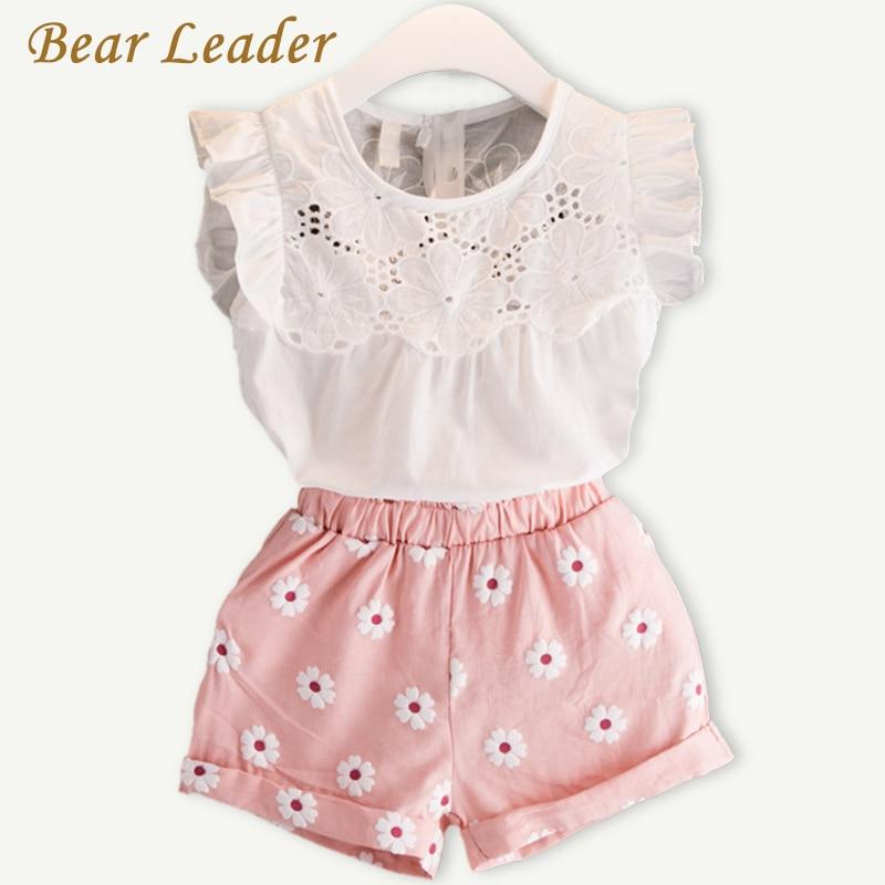 цена  Bear Leader Girls Clothing Sets 2017 Summer New Popular White Butterfly Sleeve Solid T-Shirt + Pink Pants Sets Children Clothes  онлайн в 2017 году