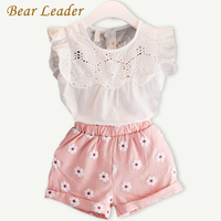 Bear Leader Girls Clothing Sets 2017 Summer New Popular White Butterfly Sleeve Solid T-Shirt + Pink Pants Sets Children Clothes