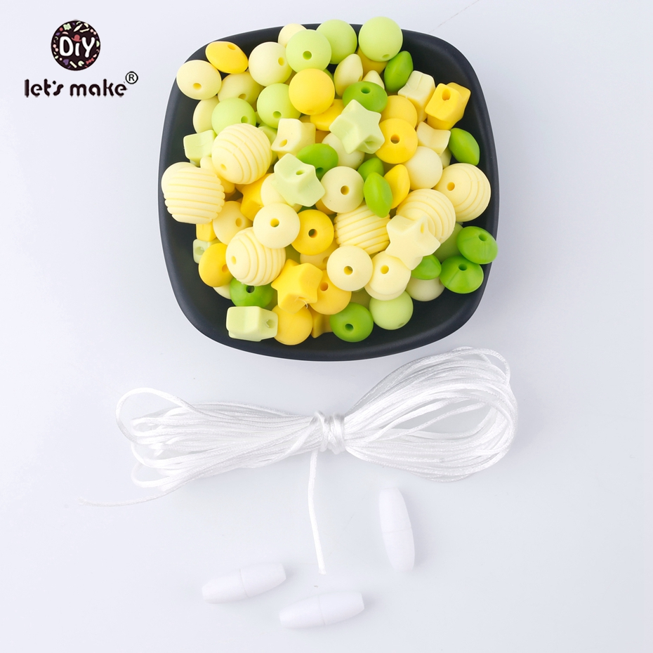 Let's Make 50pcs Screw Thread Carved Shaped Silicone Teether Beads Set Cute Star Can Chew DIY Beads Nursing Baby Teether