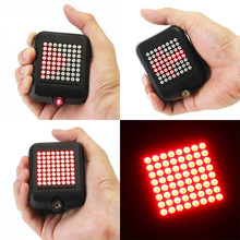 USB Rechargeable Bike Tail Light 64 LED Bicycle Turn Signal Lights Intelligent Sensor Brake EDF88