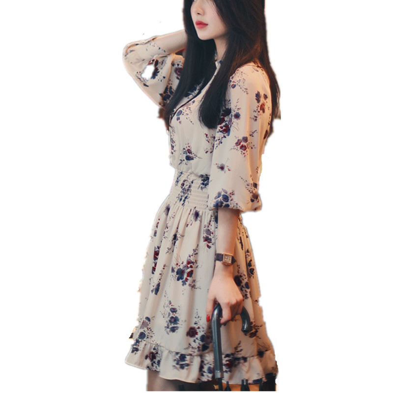 b5f99cbea3 2018 New Cute Floral Print Chiffon Dress Women s Long Sleeve V Neck Vintage  Summer Dresses Beach Party Vestidos Ladies XH007-in Dresses from Women s ...