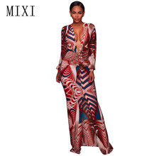 цена MIXI Women Elegant Party Dresses 2017 Long Sleeve Deep V Neck Split Long Dress Vintage Printed Bodycon Maxi Dress Plus Size XXXL