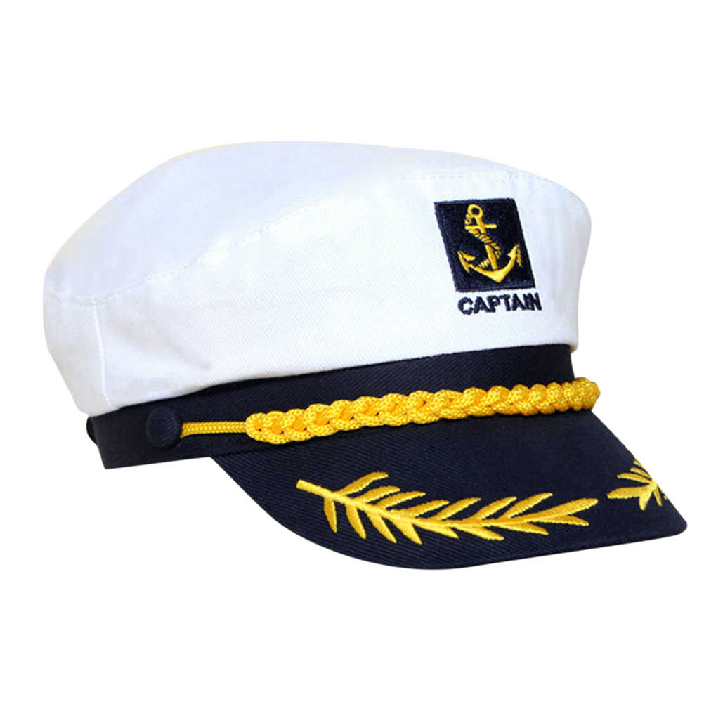 2feae64507d 1PC White Hats Yacht Captain Navy Marine Skipper Ship Sailor Military  Nautical Hat Cap Costume Adults