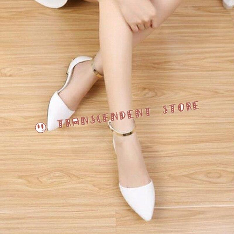 ФОТО Choudory Flock Upper Low Heel Summer Cover Heel Women Pumps Fashion Buckle Strap Handmade Pointed Toe Metal Decorated Pumps