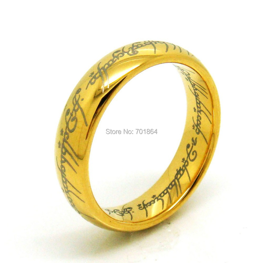 US Size 5 to13 The Tungsten Carbide One Ring of Power Width 6mm Gold ...