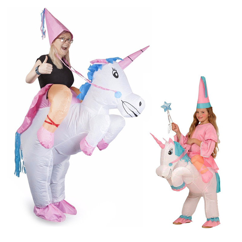 Licorne gonflable Cosplay Costume mère fille vêtements Ride-On Animal tenue pour enfant adulte correspondant tenues famille Look