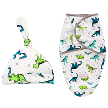 2 Pieces Set Swaddle Wrap +Hat Blanket Bedding Cartoon Cute Infant Sleeping Bag For 0-6 Months