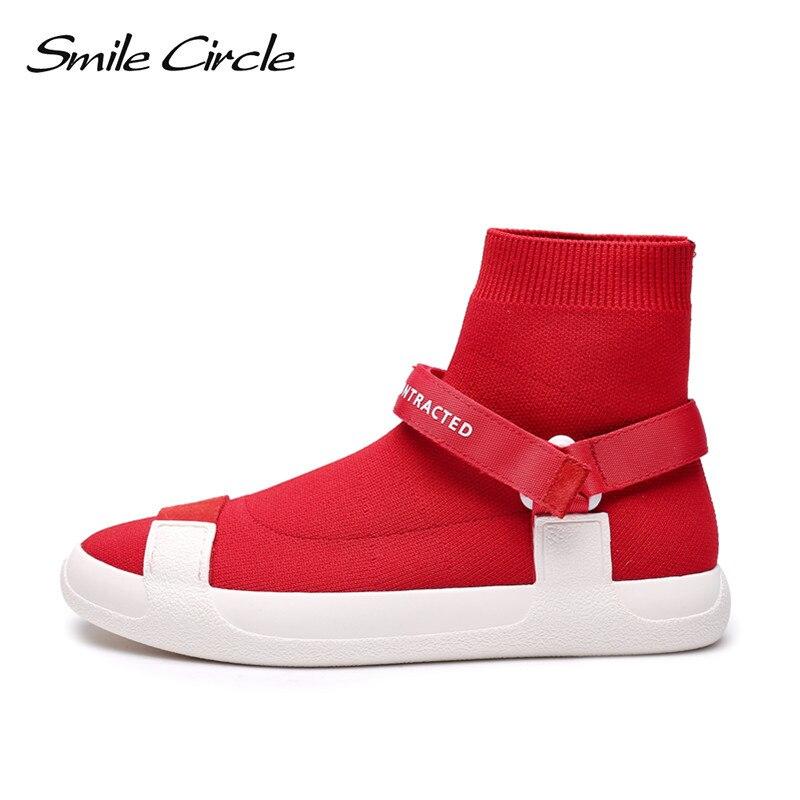 Sourire Cercle Fly tricot slip-sur Sneaker pour femmes Haute-top chaussette espadrille Léger Respirant Casual Chaussures femmes chaussette bottes noir