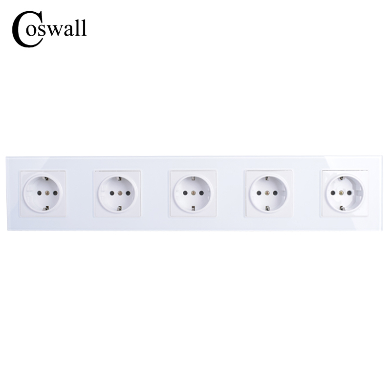 COSWALL Wall Crystal Glass Panel 5 Way Power Socket Plug Grounded, 16A EU Standard Electrical Quintuple Outlet 430mm * 86mm