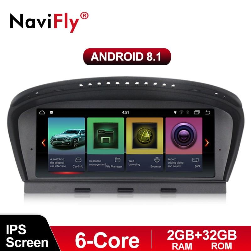 Lecteur multimédia d'autoradio NaviFly 6 core Android 8.1 pour BMW série 5 E60 E61 E63 E64 E90 E91 E92 CCC système CIC ID7 ID6 EVO