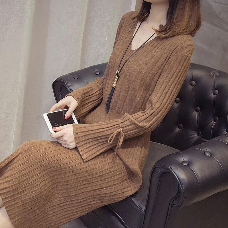 Chaud Robe Sur Lâche Lq092 Automne black Long Femmes cou Nouveau De V Pull Chandail Basant La D'hiver Et Camel Le Genou brown 2018 Chemise FxHwnqXPF