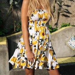 Street Style Sexy Strapless dress women Boho backless beach summer dresses yellow Floral print Ruffles short dress vestidos 3