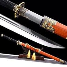 Готовый для битвы KungFu Broadsword Dao Sword 1095 Высокоуглеродистая сталь лезвие острое красное дерево Saya китайская Династия Цин меч
