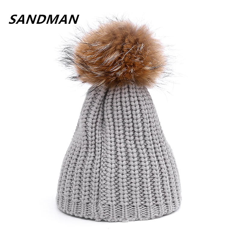 SANDMAN 100% Real Raccoon Fur Pompom Beanie Hats Warm Winter Hat Autumn Fashion Women Wool Knitted Beanies Cap  For Women autumn winter beanie fur hat knitted wool cap with raccoon fur pompom skullies caps ladies knit winter hats for women beanies page 5