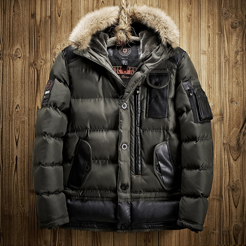 2017 New Men Padded Parka Winter Polyester Coat Thick Parkas With Fur Collar Fashion Coat Mens Free Shipping tiger force 2017 new collection men padded parka winter coat mens fashion jacket long thick parkas artificial fur free shipping