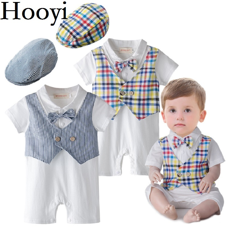 2018 Fashion Handsome Baby Boys Clothes Newborn Rompers Birthday Costumes Baby Jumpsuits Hats Short Sleeve Tuxedo 100% Cotton 100% cotton ropa bebe baby girl rompers newborn 2017 new baby boys clothing summer short sleeve baby boys jumpsuits dq2901
