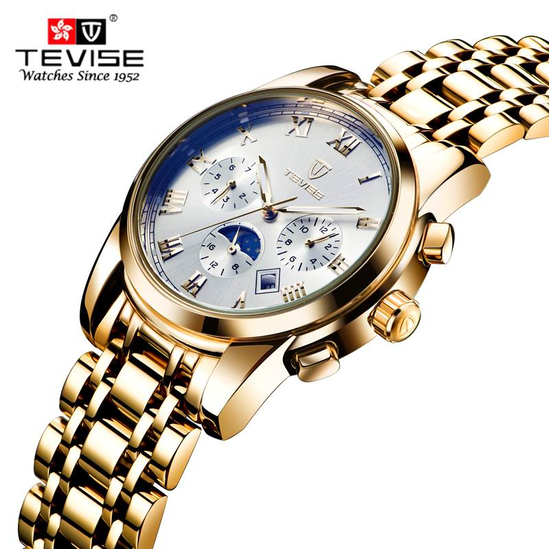 2017 TEVISE Skeleton Tourbillon Mechanical Watch Automatic Men Classic Golden Moon phase Mechanical Wrist Watches Reloj Hombre relogio masculino tevise luxury brand watch men tourbillon automatic mechanical watches moon phase skeleton wrist watch clock