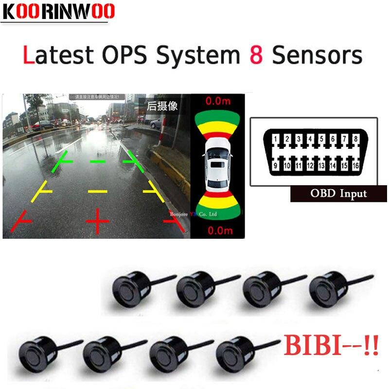 Koorinwoo Últimas 8 OPS OBD Sistema de Controle Plugue do Carro Sensores de Estacionamento Parktronic Radar Sonda de Alarme bibi-Car detector 4 4 frontal de volta