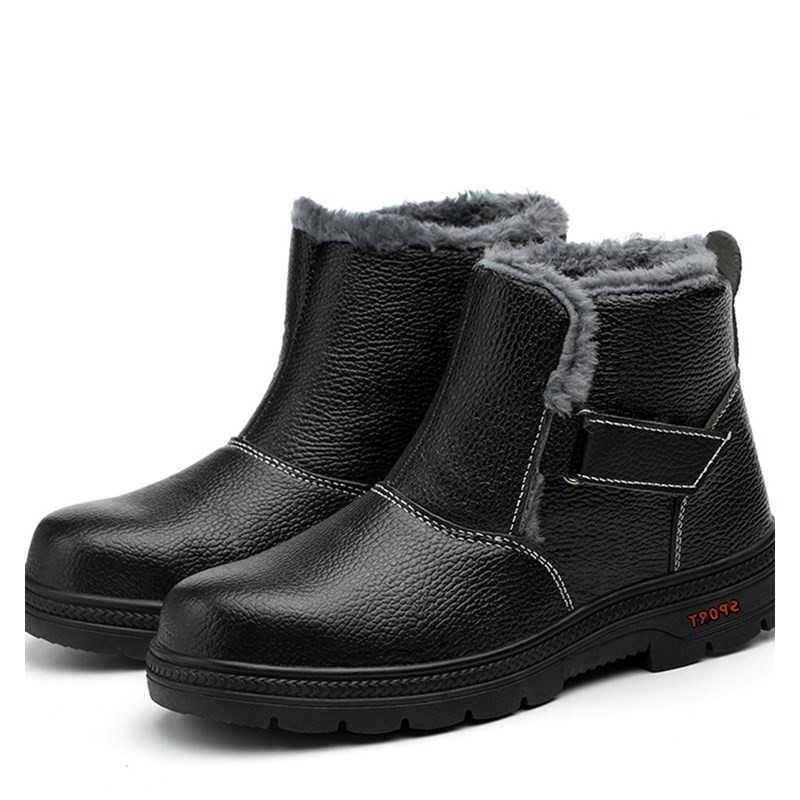 Mannen Werken Veiligheidsschoenen Stalen Neus Binnenzool Winter Lederen Werkschoenen Voor Mannen antislip Anti-statische Wear -weerstand Veiligheid Laarzen 2019