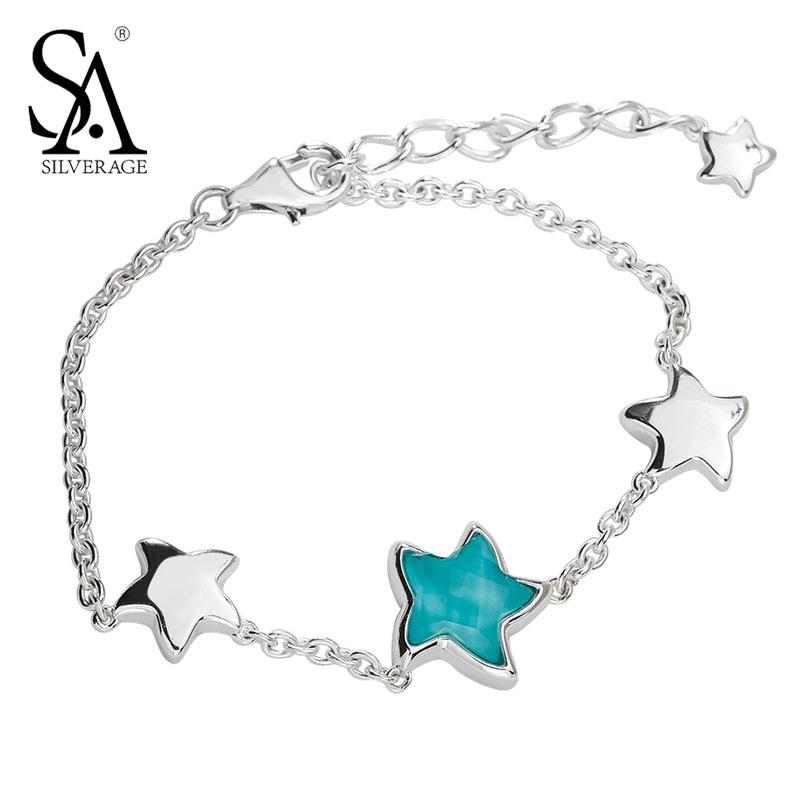 SA SILVERAGE Real 925 Sterling Silver Women Bracelet Fine Jewelry Best Gift New Bracelet Silver Turquoise Star Star Bracelets silver 925 bracelet mens bracelets handmade star bracelet 9mm