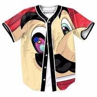 US Size Big Head Mario Cute Men Buttons Homme Baseball Jersey 3D Shirt Sport Streetwear Tees