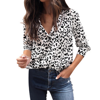 Kimono Women Blouses Fashion Ladies Leopard print Long Sleeve Blouse Button Pullover Ladies Office Shirts Blusas Mujer Блузка