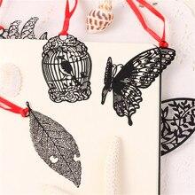 DIY милые каваи черная бабочка перо металлические закладки для книги бумажные креативные предметы милые корейские канцелярские принадлежности Подарочная посылка