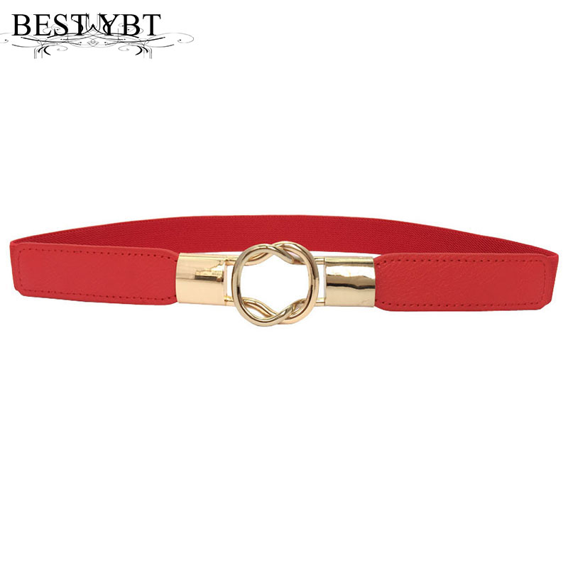 Best YBT Fashion women's   belt   elastic waistband Bottle buckle small   belts   red thin woman dress strap elastic elasticity   belt