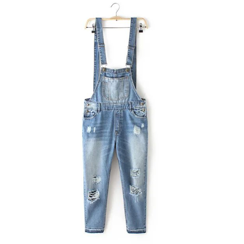 ba5df636bbfe Fashion Ripped Denim Dungaree Jumpsuit with White Adjustable Straps for  Women Straight Pants Ankle Length Blue CLJS007-in Jeans from Women s  Clothing on ...