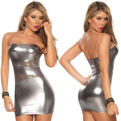 Robe de club Sexy pour femmes avec poitrine enveloppée de simili cuir et collants laqués Perspective robe fesse dos nu à poitrine basse 5