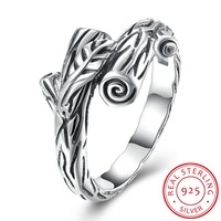 Top Sale Luxury 100 Sterling Silver 925 Plant Retro Ring Compatible With Pandora Lady Ring Simple
