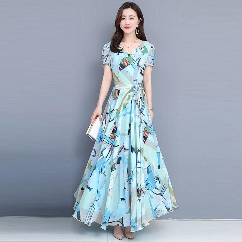 2019 été nouvelle mousseline de soie florale femmes robes A-ligne élégante mince d'o-cou élégant lady robes plus taille 4XL top qualité