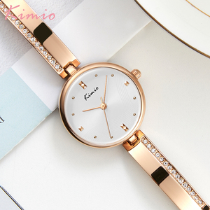 Image 2 - KIMIO New 2020 Women Watches Luxury Rhinestone Rose Gold Ladies Watch Stainless Steel Women Bracelet Watch Quartz Female Clock