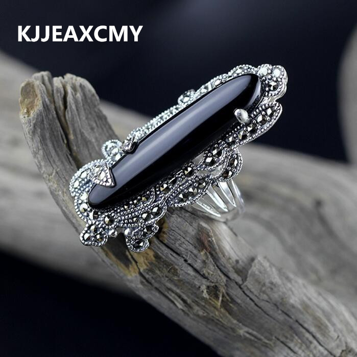 KJJEAXCMY S925 silver inlaid black onyx ring female models glossy black models wild s925 pure silver personality female models new beeswax