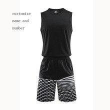 d53080e7724 Men's black and white basketball sets men basketball jersey vest shorts  adult running uniforms sports kits