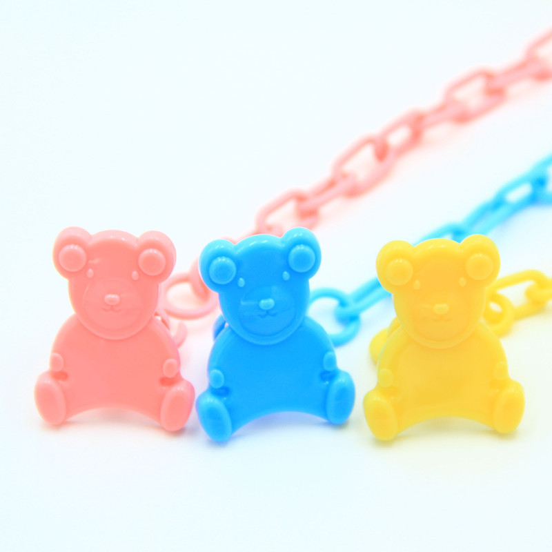1Pc Cartoon Animals Shape Pacifier Bear Clip Chain Holders Pacifier Nipple Safe PP Strap Newborn Baby Feeding Accessories