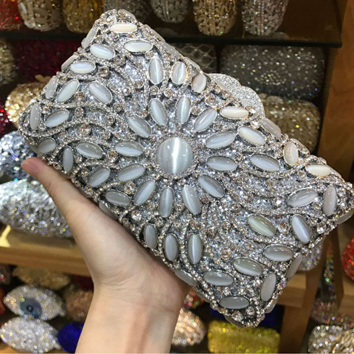 Silver Clear jade Crystal Rhinestones Evening dress Clutch Wedding Bag Women Metal Minaudiere Handbag Purse Bridal Purse gold women minaudiere heart crystal lady fashion bridal party night metal evening purse handbag case box clutch bag smyzh f0090