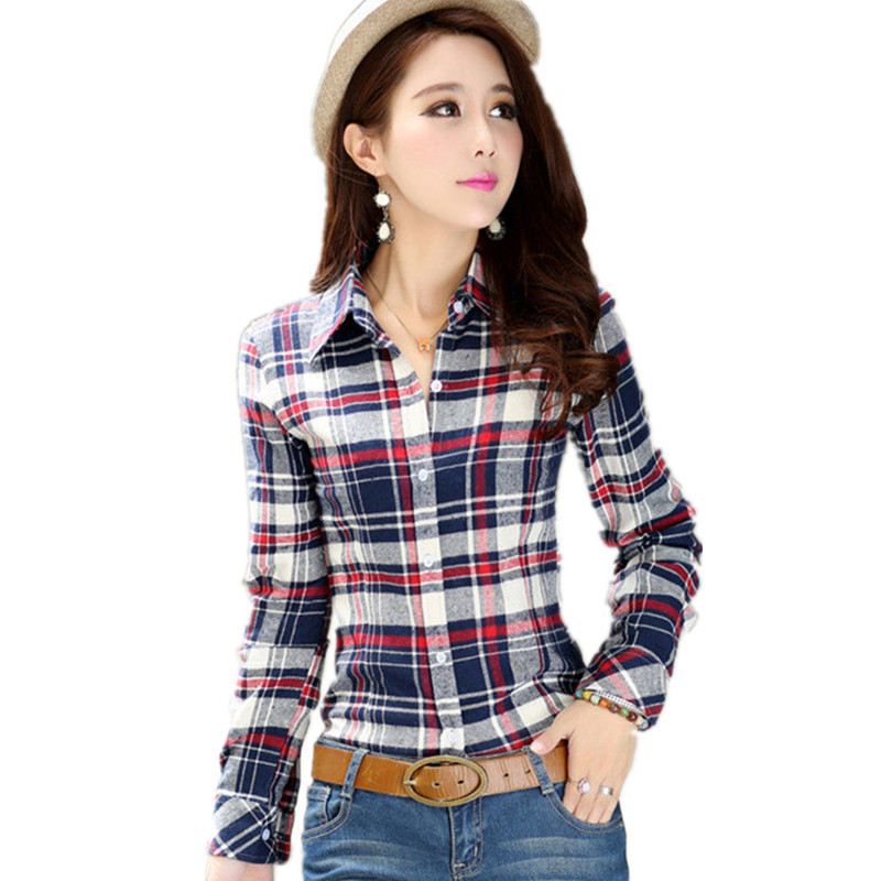 Compare prices on women checkered shirts online shopping Womens red plaid shirts blouses