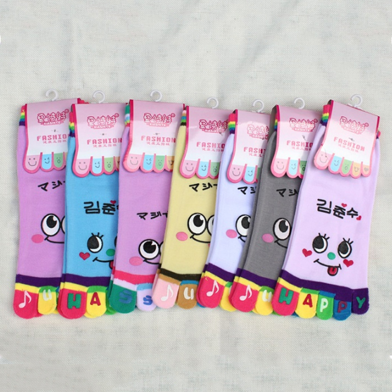 New Girl Smile Face Cute Funny Five Fingers Socks Trainer Toe Rainbow Color Big Eyes Ankle Socks For Women