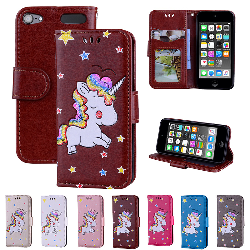 TopArmor Rainbow Unicorn Glitter Leather Case for IPod ITouch 5 Flip Wallet Stand Cover for IPod ITouch 6