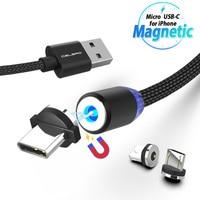 LED Magnetico Cavo Micro USB di Tipo C Cavo Del Telefono per Samsung Huawei Xiaomi 1m 2 m 2A Carica Del Telefono magnete Filo del Caricatore 2 Metro