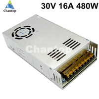 Free ship 30V 16A 480W switching power supply built in cooling fan input 110v 220v AC to DC SMPS for CNC 3D Print PSU