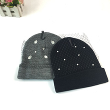 Фотография 2017 New Design Women Adult Winter Woolen Yarn Knitted Hat with Veil Faux Pearl Rhinestones Grenadine Women Beanies Skully Caps