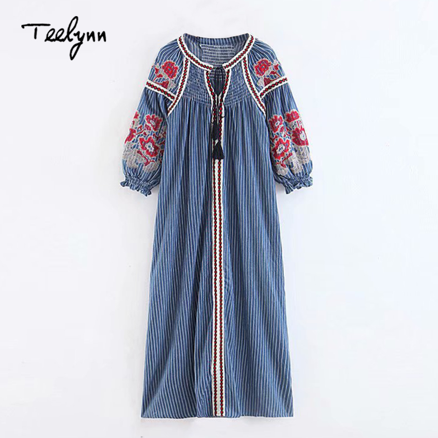 TEELYNN blue stripes Boho dress cotton floral Embroidery puff sleeve loose autumn Ukraine dresses Casual Hippie