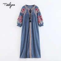 TEELYNN blue stripes Boho dress cotton floral Embroidery puff sleeve loose autumn Ukraine dresses Casual Hippie dress for women